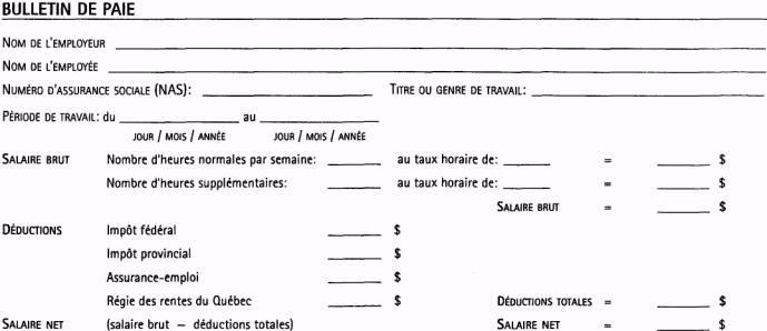 Calcul Salaire Net Quebec >> modele bulletin de paie quebec