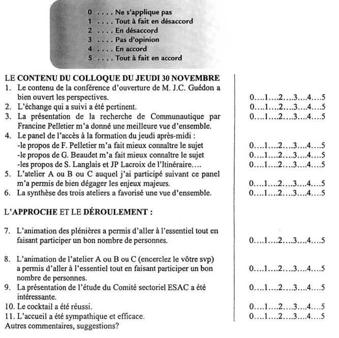 Grille Dvaluation Du Colloque Prparatoire Vendredi 1er Dcembre