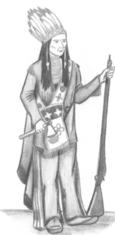 Un Abénaquis avec une hache et un fusil dans les mains.