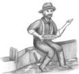 Un travailleur de la mine qui mange.