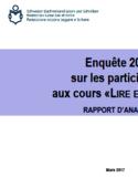 """Enquête 2015 sur les participants aux cours """"Lire et écrire"""" [ressource électronique] : rapport d'analyse"""