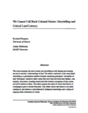 We cannot call back colonial stories [ressource électronique] : storytelling and critical land literacy