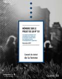 Mémore sur le projet de loi no 151 [ressource électronique] : loi visant à prévenir et à combattre les violences à caractère sexuel dans les établissements d'enseignement supérieur