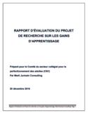 Rapport d'évaluation du projet de recherche sur les gains d'apprentissage [ressource électronique]