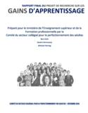 Rapport final du projet de recherche sur les gains d'apprentissage [ressource électronique]