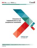 Évaluation de l'alphabétisation et des compétences essentielles [ressource électronique] : rapport final