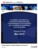 Évaluation sommative du Programme d'apprentissage, d'alphabétisation et d'acquisition des compétences essentielles pour les adultes [ressource électronique] : rapport final