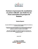 Facteurs et processus de constitution en acteur collectif [ressource électronique] : une étude de cas d'une association de groupes de femmes