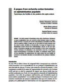 À propos d'une recherche-action-formation en alphabétisation populaire [ressource électronique] : dynamique des finalités et des positions des sujets-acteurs