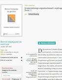 L'apprentissage organisationnel [ressource électronique] : repérage des lieux