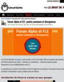 Forum Alpha et FLE [ressource électronique] : points communs et divergences