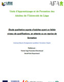 Étude qualitative auprès d'adultes ayant un faible niveau de qualifications, en attente ou en reprise de formation [ressource électronique]