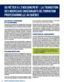 Du métier à l'enseignement [ressource électronique] : la transition des nouveaux enseignants de formation professionnelle au Québec
