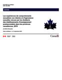 Les expériences de comportements sexualités non désirés et d'agressions sexuelles vécues par les étudiants des établissements d'enseignement postsecondaire dans les provinces canadiennes, 2019 [ressource électronique]