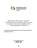 Processus participatif visant à l'intégration de contenus relatifs aux violences faites aux femmes dans l'enseignement supérieur [ressource électronique] : note contextuelle et présentation des travaux et recommandations